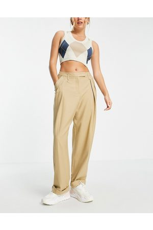 Topshop Menzy trouser in camel-Brown