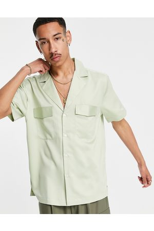 ASOS Heavy matte satin shirt with revere collar in mint-Green