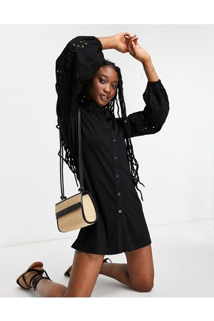 ASOS Mini shirt dress with embroidered cut out sleeves in black