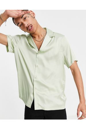 ASOS Satin shirt with deep revere collar in mint-Green