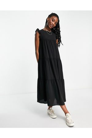 ASOS Sleeveless tiered midi dress with frills in black