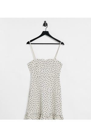 ASOS Tall strappy sundress with pephem in stone and black polka dot-White