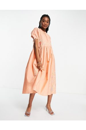 ASOS Cotton poplin embroidered midi smock dress with open back in peach-Pink
