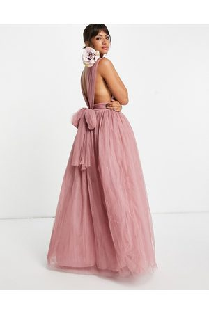 ASOS Tulle plunge maxi dress dress with bow back detail in rose-Blue
