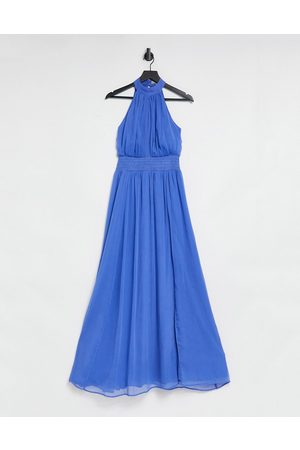 ASOS High neck soft maxi dress with shirred waist detail in blue-Multi