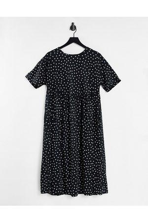 ASOS Ženy Volnočasové - Oversized midi smock dress in mono spot-Black