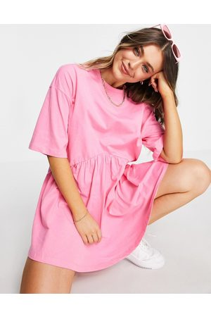 ASOS Oversized mini smock dress with dropped waist in pink