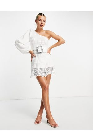 ASOS Triple sleeve one shoulder wiggle lace mini dress with pep hem and belt in white