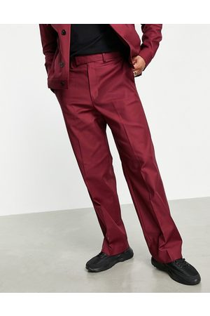 ASOS Smart wide leg trousers co-ord in burgundy-Red