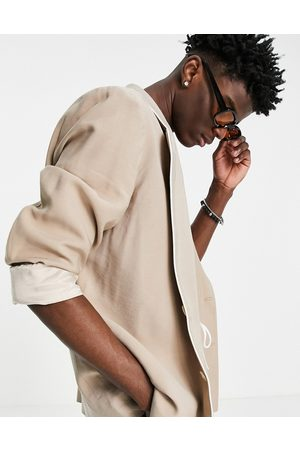 ASOS Slim fit pyjama suit jacket with piping on pocket in camel-Neutral