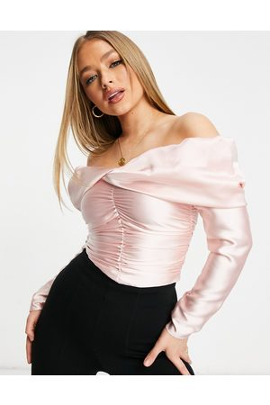 ASOS Satin off the shoulder top with drape detail in pink