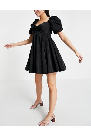 ASOS Puff sleeve mini dress with pleat and godet skirt in black