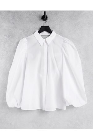 ASOS Volume sleeve shirt with open elastic back detail in white