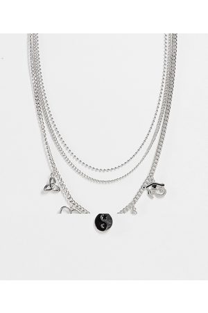 ASOS Layered neckchain with 90s pendants in silver tone