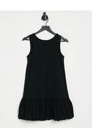 ASOS Bubble hem v back sleeveless dress in black