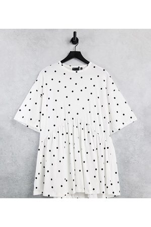 ASOS Petite oversized mini smock dress with dropped waist in white and black polka dot