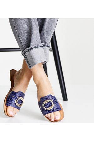 ASOS Wide Fit Formal leather sandals with trim in blue