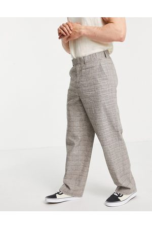 ASOS Extreme wide smart trouser in brown prince of wales check