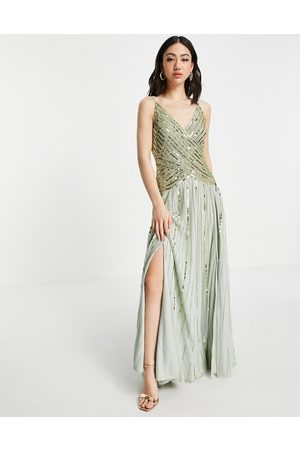 ASOS Linear embellished maxi dress with sheer skirt in multi