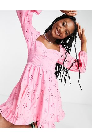 ASOS Long sleeve broderie tiered mini skater dress in pink