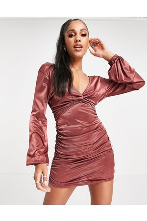 ASOS Long sleeve satin ruched mini plunge twist front dress in rust-Multi