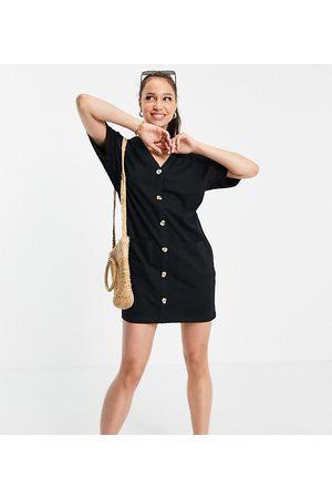 ASOS ASOS DESIGN Tall button through t-shirt dress in black