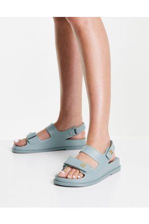 River Island Ženy Sandály - Sporty footbed sandal in mint green