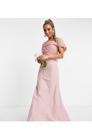 Missguided Bridesmaid bandeau gown with organza detail in blush-Pink