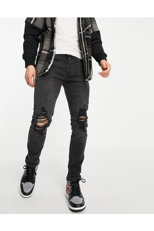 Topman Muži Skinny - Stretch skinny jeans with rip in washed black