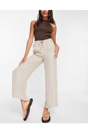 VILA Ženy Široké nohavice - Wide leg silky trousers in taupe-Neutral