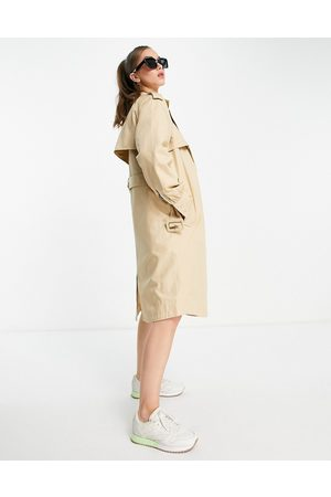 Y.A.S Belted trench coat in beige-White