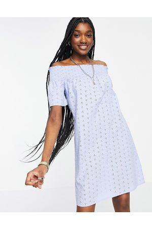 ONLY Broderie off the shoulder mini dress in blue