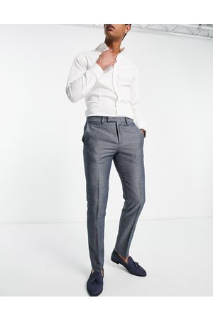 Twisted Tailor Muži Společenské - Suit trousers with micro geo jaquard in blue and white