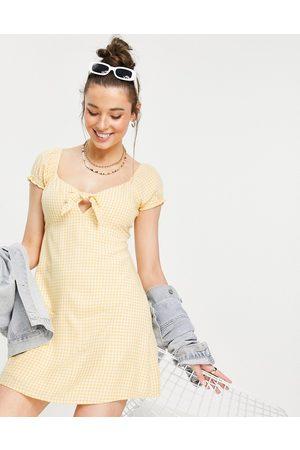 Hollister Puff sleeve frill hem dress in yellow check-Pink