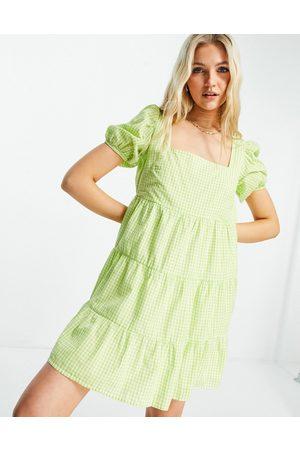 Influence Beach dress in green gingham