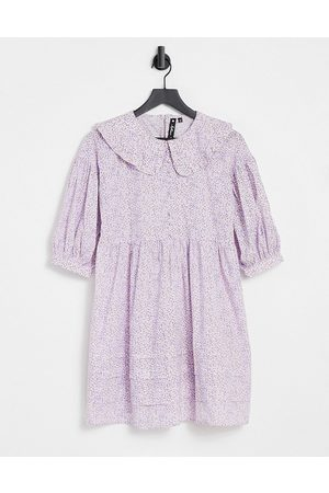 Influence Mini dress with peter pan collar in ditsy lilac floral-Multi