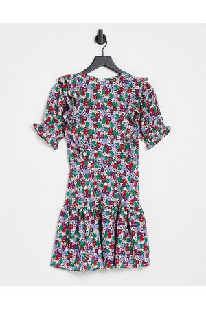 Influence Floral mini dress with frill front-Multi