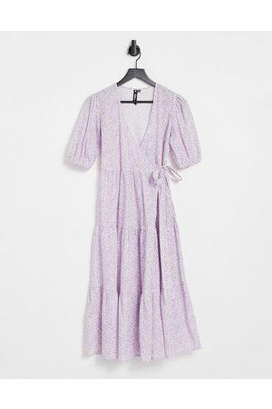 Influence Cotton poplin wrap midi dress in lilac floral-Multi
