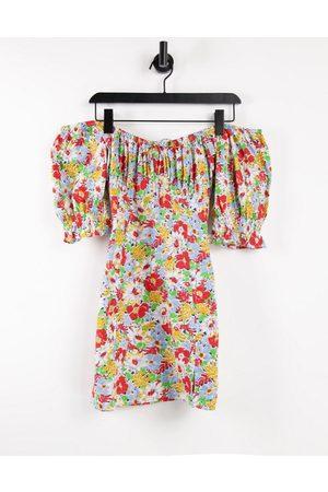 Influence Ženy Volnočasové - Floral mini dress with puff sleeves-Multi