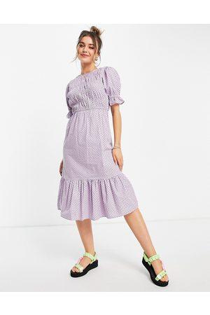 Influence Ženy Volnočasové - Polka dot midi dress in lilac-Purple