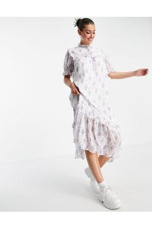Lost Ink Midi dress with bib detail in vintage floral-Multi