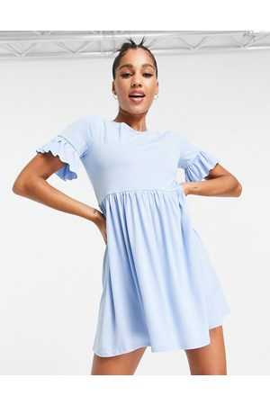 Flounce London Smock dress with frill sleeve in blue