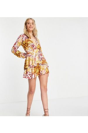 John Zack Exclusive plunge front tiered ruffle mini dress in contrast floral-Multi
