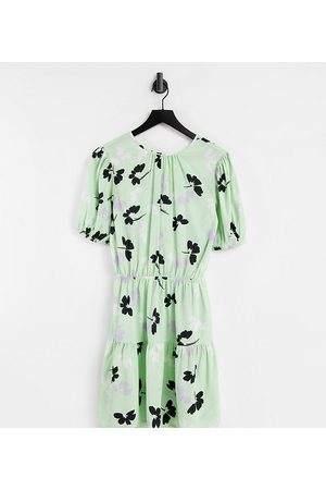 Influence Mini dress in green shadow floral-Multi