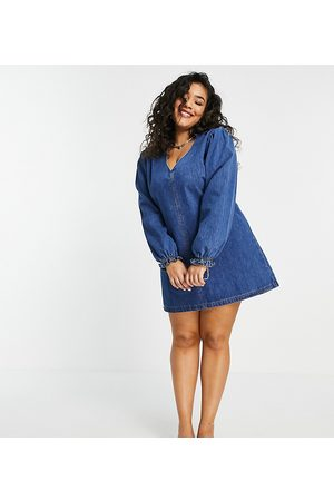 Lost Ink Plus Swing dress with collar and balloon sleeves in vintage denim-Blue