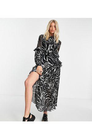 Topshop Tall Animal print pleated midi dress-Multi