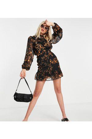 Topshop Tall Animal print mini dress-Multi