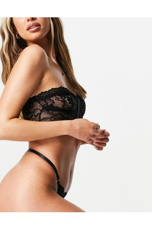 Love & Other Things Bustier and thong set in black lace