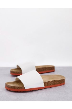 Brave Soul Faux leather sliders in white with colour contrast