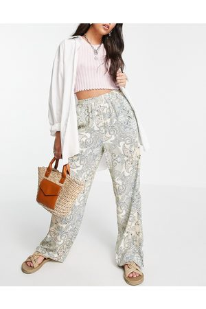 Only Co-ord wide leg trousers in paisley print-Green